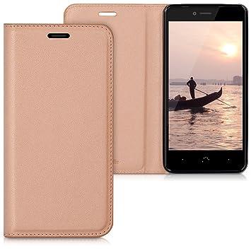 kwmobile Funda para bq Aquaris U/U Lite - Carcasa para móvil de Cuero sintético - Case Plegable en Oro Rosa