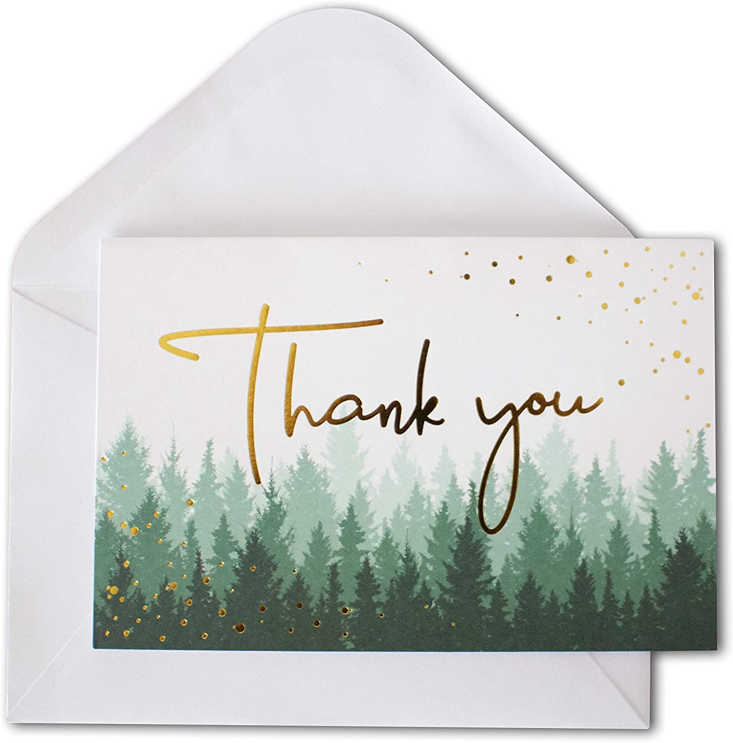 Thank You Cards with Envelopes | 48 Gold Foil Forest Nature | Wedding, Bridal Shower, Baby Shower, Graduation, Small Business Thank You Notes 4x6 inches Blank Inside