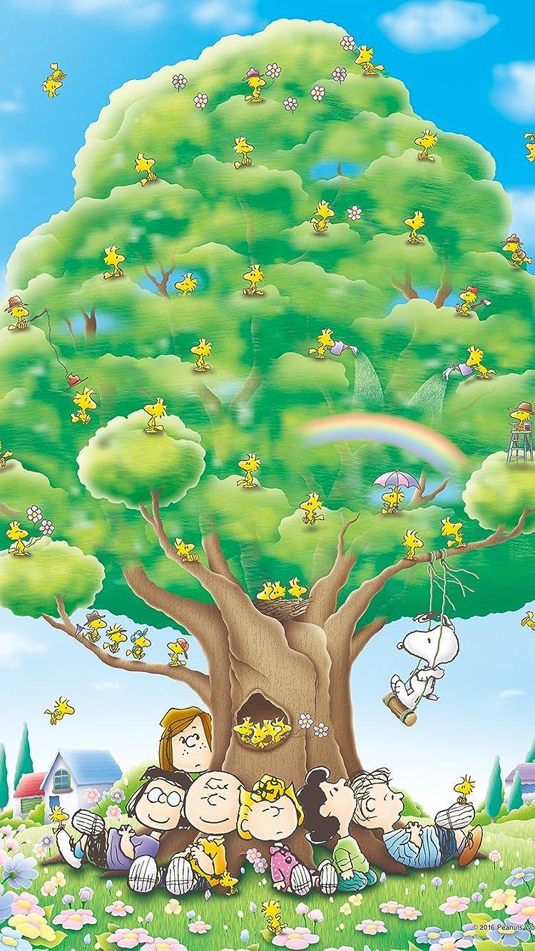 スヌーピー Peanuts 大きな樹 Iphone8 7 6s 6 750 1334 壁紙 画像59212