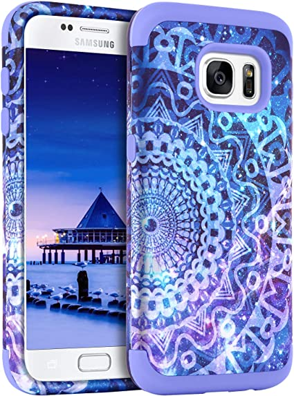 Amazon Com Guagua Galaxy S7 Case Samsung S7 Case Mandala Flower Three Layer Hybrid Hard Pc Bumper Soft Silicone Rubber Glossy Cover Shockproof Protective Durable Phone Cases For Samsung Galaxy S7 G930 Purple