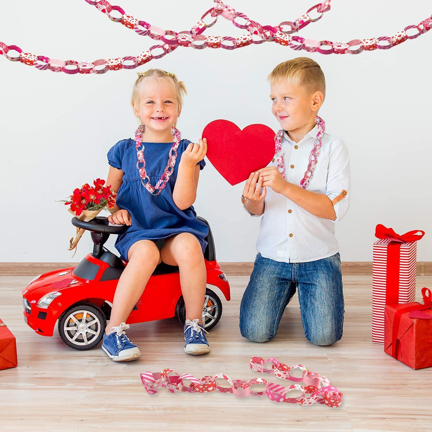 KUUQA Valentine Paper Chains Valentines Day Craft Paper Chains for Wedding and Festive Party Decoration