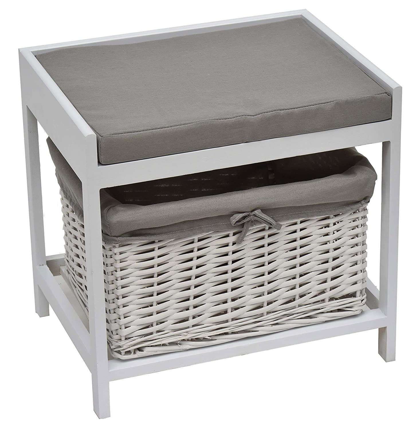 2 in 1 : Bathroom stool + storage basket - Charming design - Colour GREY and WHITE TENDANCE 9645208