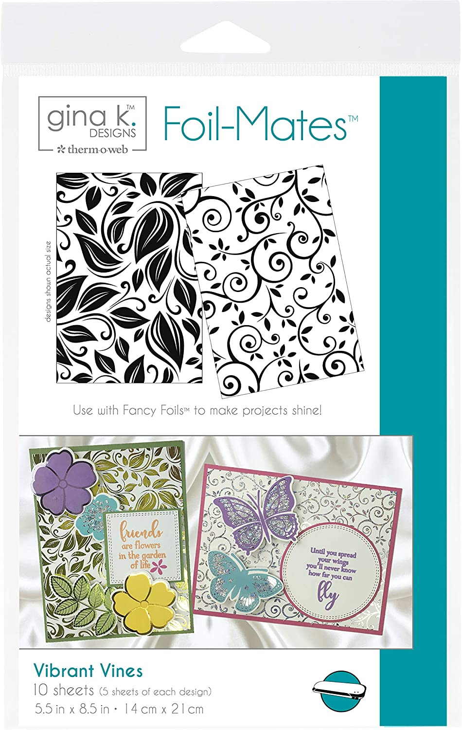 Black Designs for Therm O Web 18073 Foil-Mates 5.5 x 8.5 Vibrant Vines Background Gina K