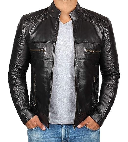 Black Leather Jacket For Men Genuine Lambskin Motorcycle Leather