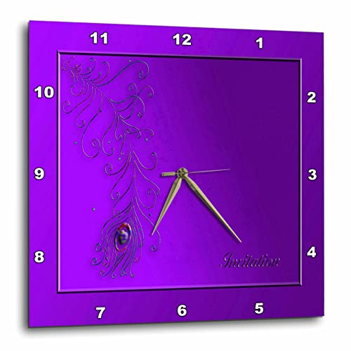 3dRose DPP_43475_1 Peacock Feather, Purple-Wall Clock, 10 by 10-Inch