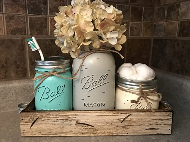 Gentil Ball Mason Jar BATHROOM SET Antique WHITE Tray ~Toothbrush, Quart Jar  (flower Optional