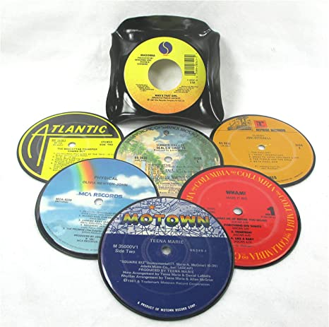 Recycled Vinyl Record Drink Coasters Gift Set of 6 with Coaster Caddy REAL  RECORDS