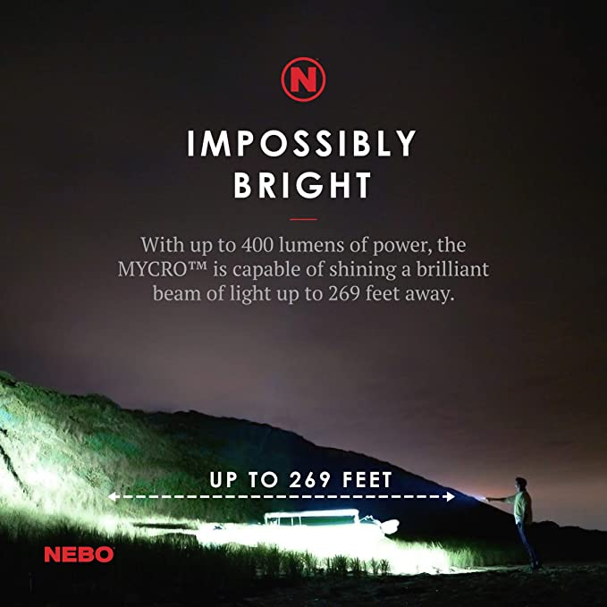 NEBO Mini Rechargeable Keychain Flashlight: Features 6 Unique Light Modes, Including 400 Lumen Turbo Mode and 3 LED Color Options; Easily Secured via ...
