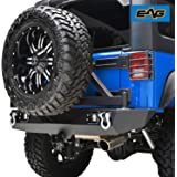 E-Autogrilles Rear Bumper with Tire Carrier and 2 Square 12W LED Lights for 07-17 Jeep Wrangler JK