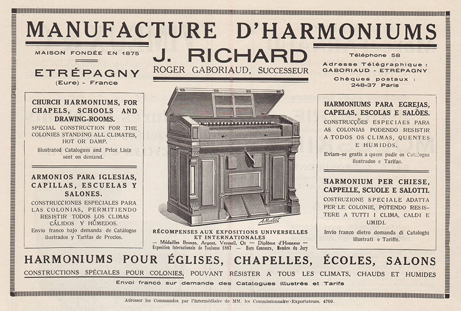 Amazon.com: 1927 Print Jules Richard Church Harmoniums Musical Instruments Roger Gaboriaud: Posters & Prints