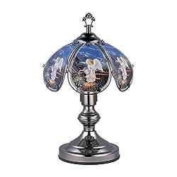 OK Lighting OK-603C-AN4 14.25-Inch Touch Lamp with Angel Theme, Black Chrome