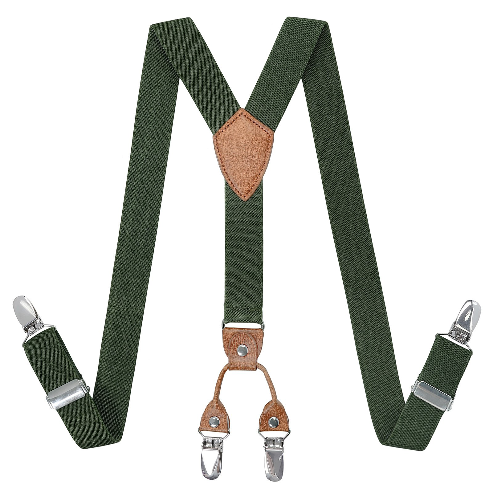 Kajeer Toddlers Boys Mens Adjustable Suspenders - Y Back Heavy Duty Suspenders for School Uniforms Tuxedos (43.3 Inch (5 Feet Tall - 9 Feet Tall), Army green)