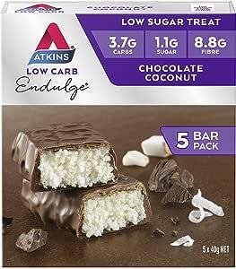 Atkins Endulge Chocolate Coconut Bars | Keto Friendly Bars | 15 x 40g Low Carb Coconut Bars | Low Carb, Low Sugar, High Fibre | 15 Bar Pack