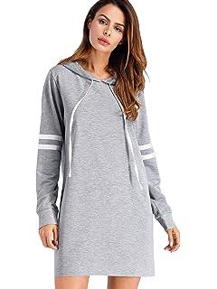 6bc6551059bcc SweatyRocks Women's Striped Long Sleeve Pullover Hoodie Sweatshirt Dress  Grey L
