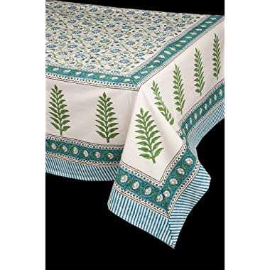 The Silk Cocoon Hand block printed organic cotton 72 W X 120 L Table cloth/ table linen (Green branches border)