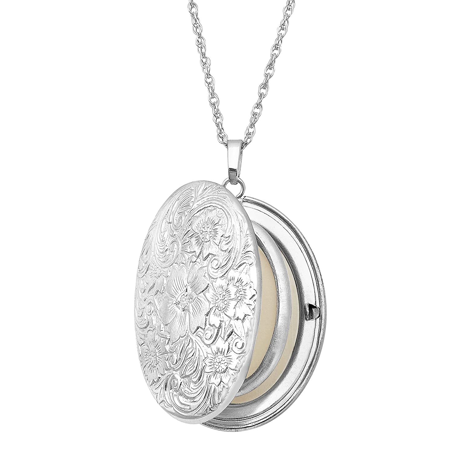 Floral Locket Necklace Pendant with Diamond in Sterling Silver
