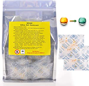 MEMX Silica Gel Desiccants Packets Dehumidifiers Fast Reactivate Food Grade Moisture Absorber Bags with Indicating Beads for Closet Gun Safes Basement Storage.(50 Packs, 10 Gram)