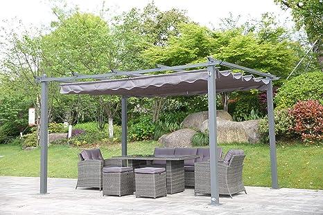 Angel Living® Pérgola de Aluminio con Techo Retráctil, Cenador con Tela de Poliéster Resistente al Agua ya UV, Uso para el Exterior (3X4m Gris)