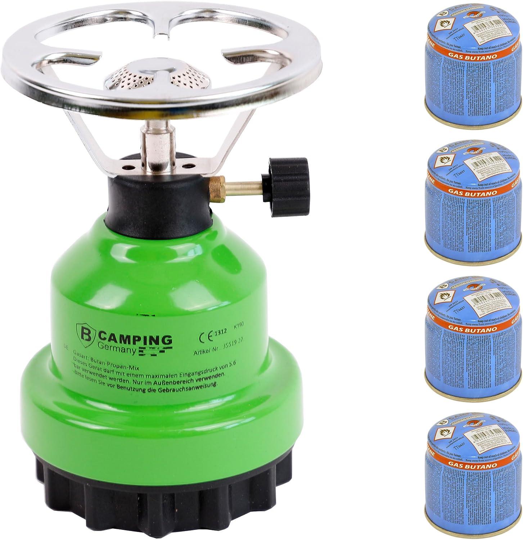 Hornillo de gas E190 de metal con 4 gas