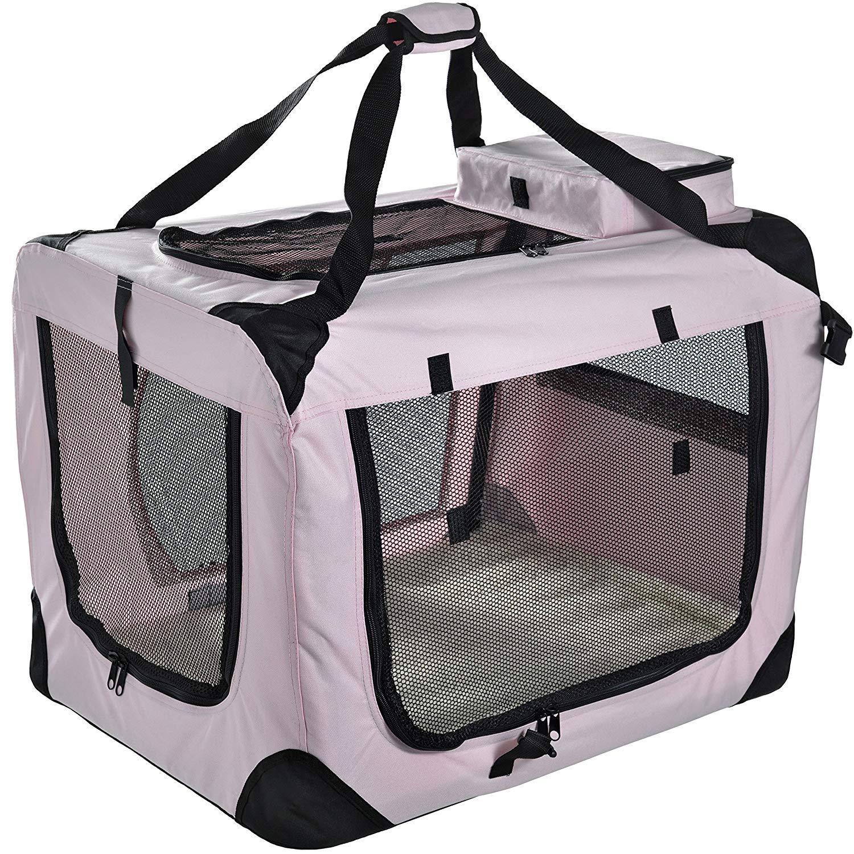 Lightweight Fabric Pet Carrier Crate with Fleece Mat and Food Bag,pink,M70  52  52CM