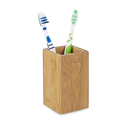 Relaxdays – 10020226 Portacepillos bambú Rectangular, diseño Natural, Medidas: 11,5 x