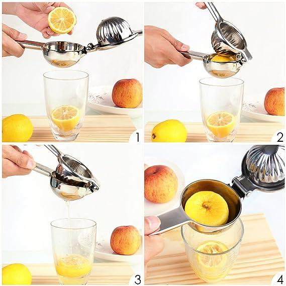 Compra HOMFA Exprimidor de Limones Acero Inoxidable Exprimidor Manual 13 hoyos 21.6*7.6*5.2cm en Amazon.es