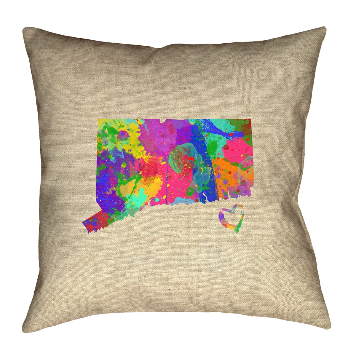 ArtVerse Katelyn Smith 14 x 14 Spun Polyester Double Sided Print with Concealed Zipper /& Insert Connecticut Pillow