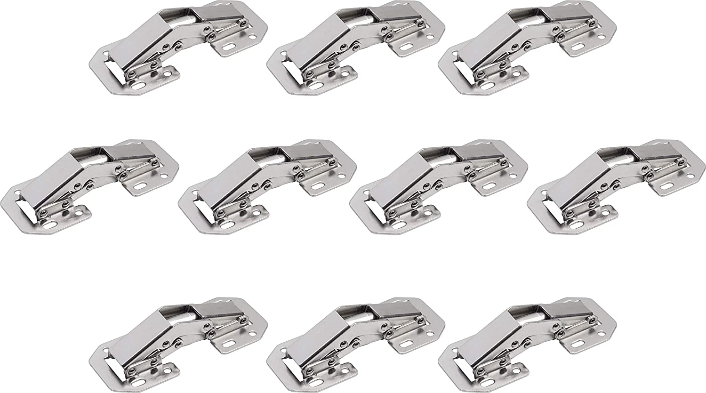10 St/ück Aus vernickeltem Stahl // M/öbel-Scharnier mit Selbsteinzug // Automatisches Feder-Scharnier // 310749 Mit Feder Metafranc Aufschraubscharnier Hochwertige Qualit/ät 90/° /Öffnungswinkel