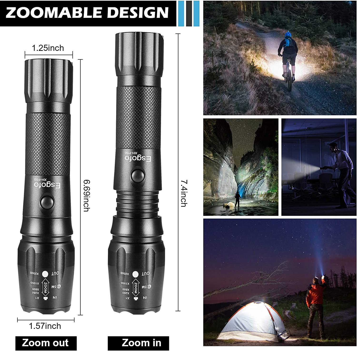 Rechargeable LED Torches Tactical Torch High Lumens Esgofo P50 Powerful Flash Lights High Power Big Gear Flashlights 26650 6000mAh Battery Charger USB Cable Box Emergency Camping Hiking Accessories