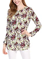 Allegra K Women's Printed Round Neck Long Sleeves Relax Fit Tunic Knitted Top