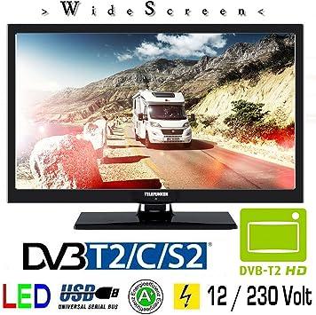 Telefunken T22 X 720 Móvil LED TV de 22 Pulgadas DVB-T/S/S2/T/T2/C USB 12 V 230 V Caravana Camping Coche camión Truck y Casa: Amazon.es: Electrónica