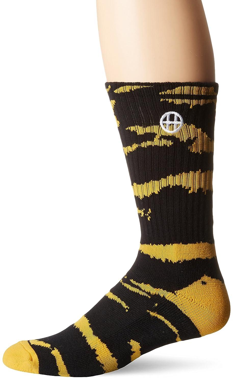 64c7197274d80 HUF Men's Tiger Stripes Crew Sock, Black/Yellow, One Size: Amazon.co.uk:  Clothing