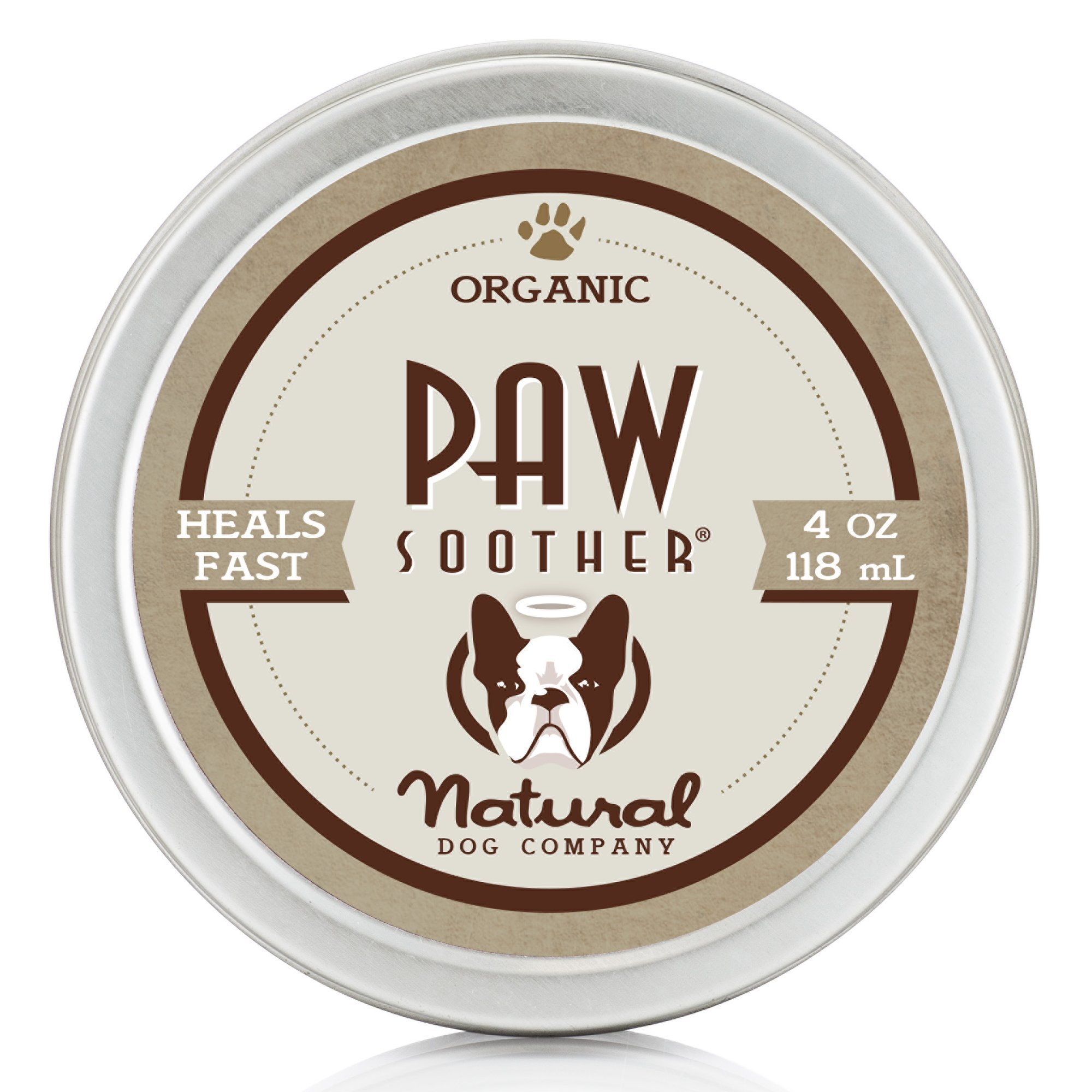 Natural Dog Company - Paw Soother | Heals Dry, Cracked, Irritated Dog Paw Pads | Organic, All-Natural Ingredients, Easy to Apply | 4 Oz Tin by Natural Dog Company