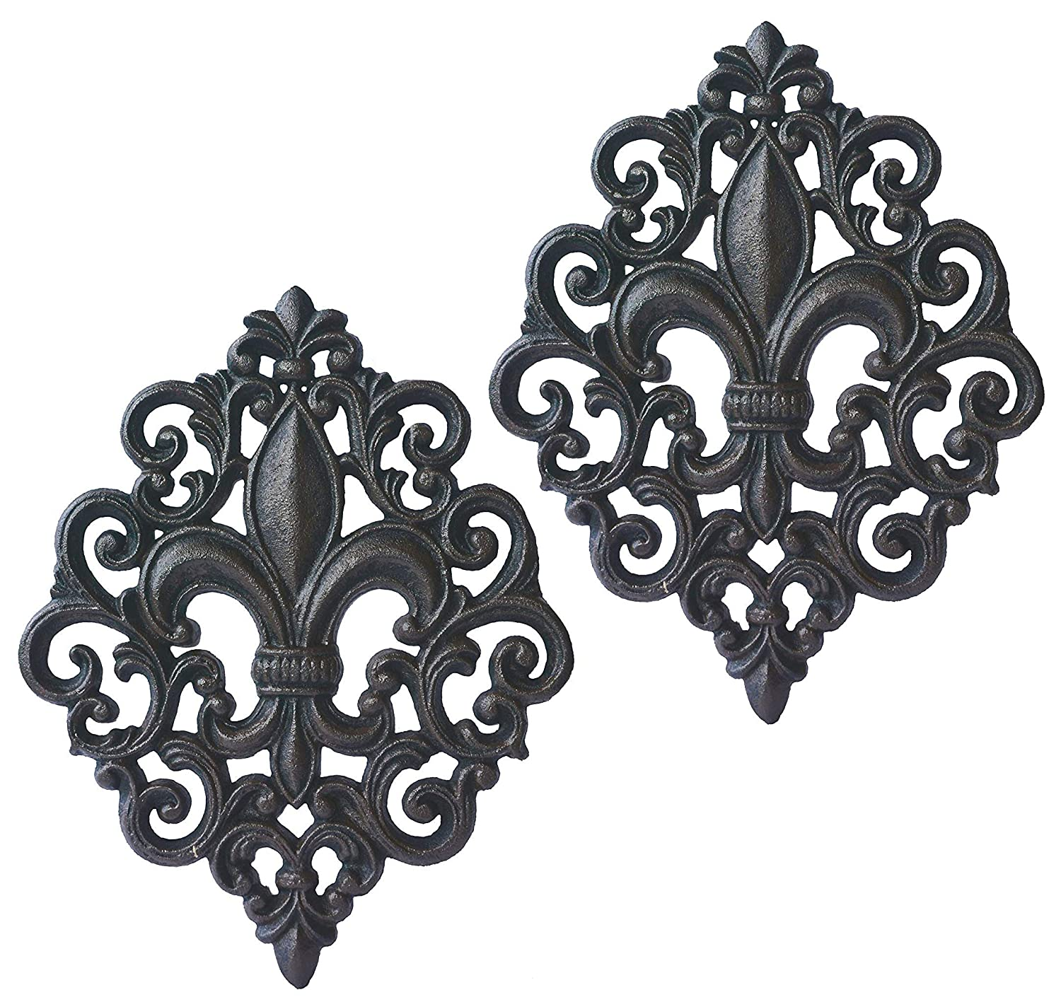 Lulu Decor, Cast Iron Fleur De Lis Decoration Plaque (2 Pieces)