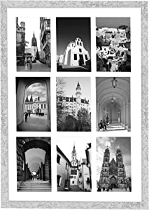 Golden State Art, 13.6x19.7 Silver Wooden Collage Frame - White Mat Included - Fits Nine 4x6 Photos/Pictures - Sawtooth Hanger - Swivel Tabs - Wall Mounting - Landscape/Portrait - Real Glass