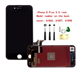 Black iPhone 8 Plus 5.5 inch LCD Screen Replacement Full digitizer Assembly Frame Set Front Glass 3D Touch Display with Required Tool kit