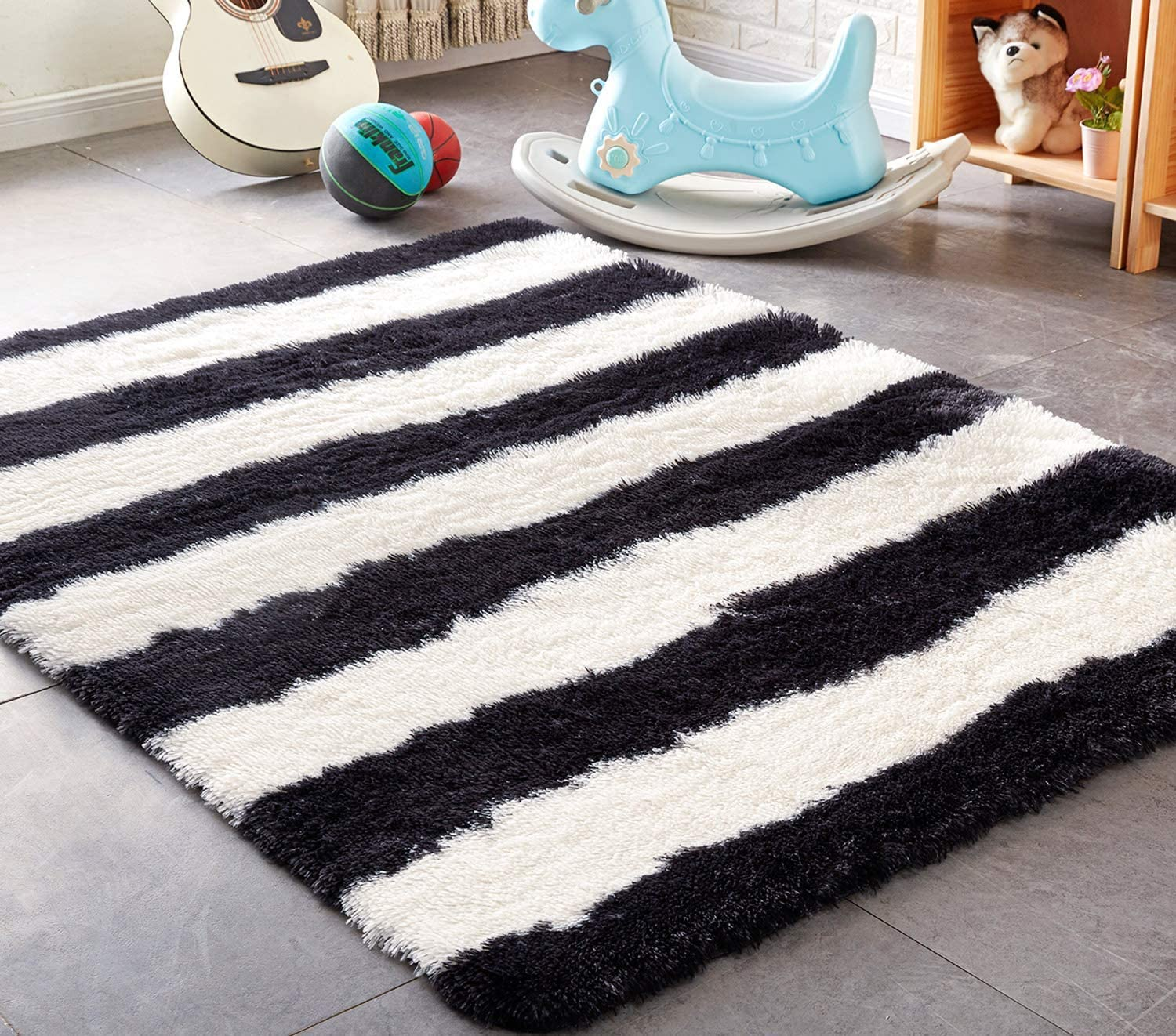 Amazon.com: PAGISOFE Black and White Striped Shaggy Area Rugs for