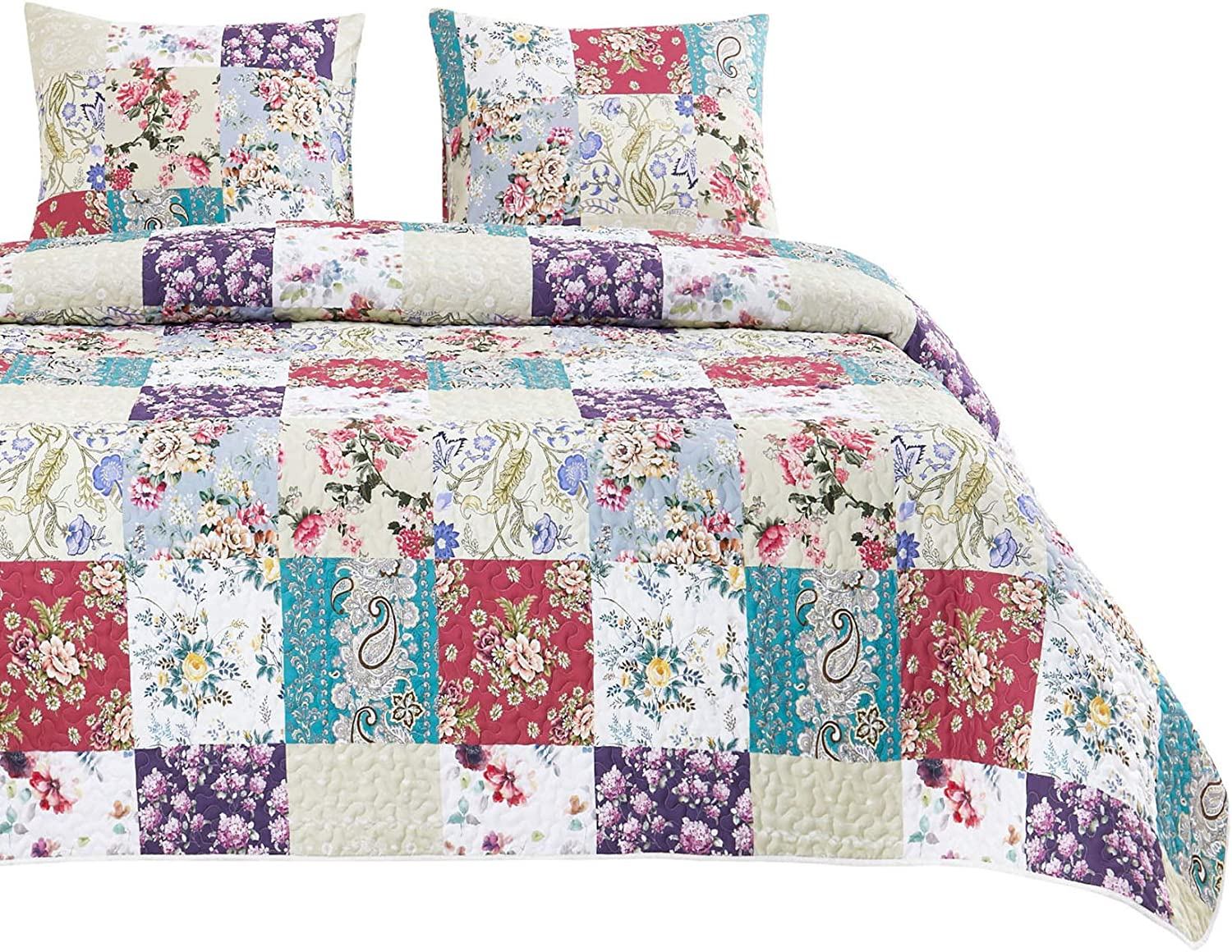 Wake In Cloud - Floral Patchwork Quilt Set, Flowers Leaves Paisley Botanical Plant Pattern Printed, Soft Microfiber Bedspread Coverlet Bedding (3pcs, King Size)