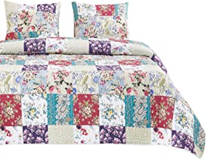 Wake In Cloud - Floral Patchwork Quilt Set, Flowers Leaves Paisley Botanical Plant Pattern Printed, Soft Microfiber Bedspread Coverlet Bedding (3pcs, Queen Size)