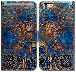 """Bcov 4.7"""" iPhone SE 2020 Case,iPhone 8 Case,iPhone 7 Wallet Case, Gorgeous Colours Circle Wallet Flip Leather Cover Case with Credit Card Slot ID Card Holder Kickstand for iPhone 7/8/SE 2020"""