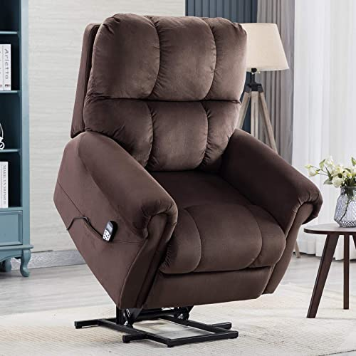 CANMOV Power Lift Recliner Chair with Heat Massage for Elderly, Heavy Duty Reclining Chair with Contemporary Overstuffed Arms and Back, Chocolate