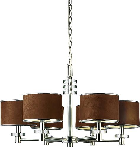 Eurofase 15862-013 Savvy 6-Light Chandelier, Satin Nickel Brown