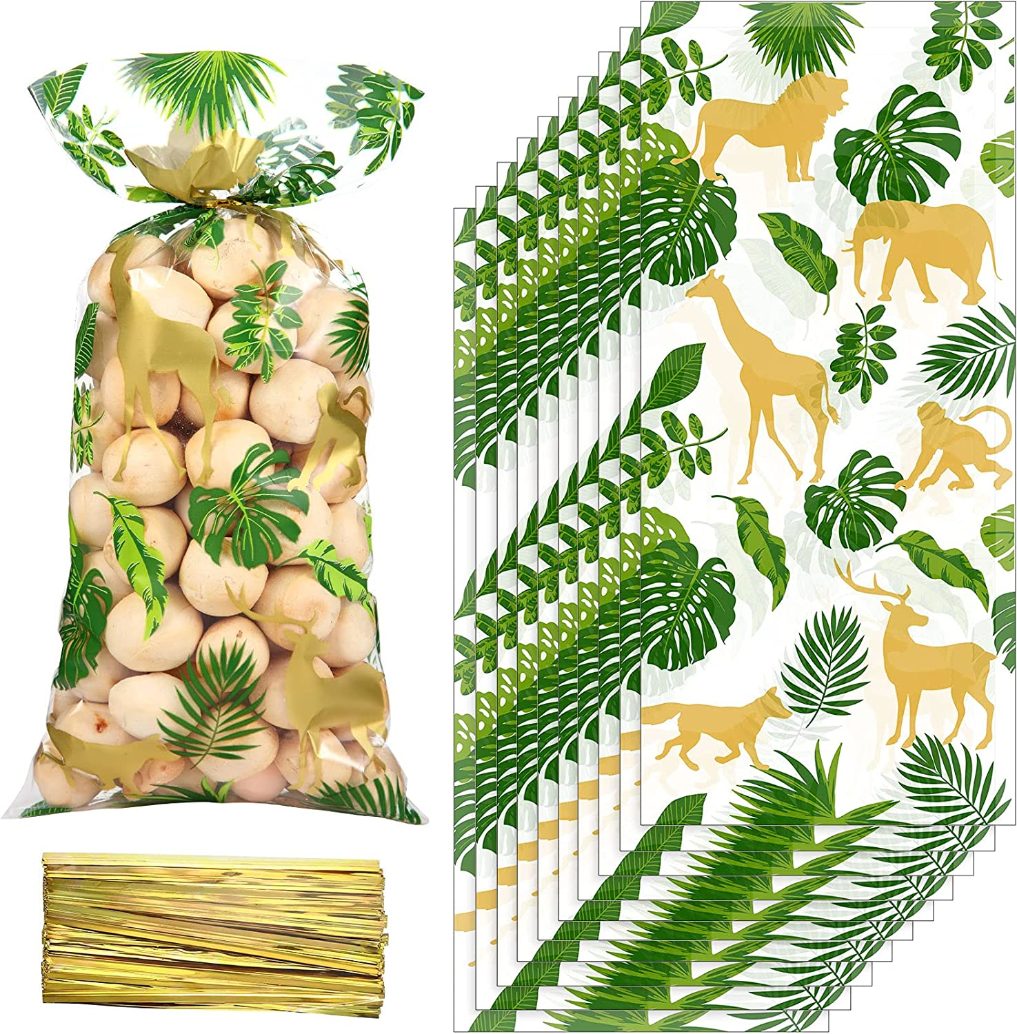 100 Pieces Jungle Animal Cellophane Treat Bags, Green Gold Safari Animal Palm Leaves Plastic Candy Goodie Bags with 100 Gold Twist Ties for Wild One Safari Baby Shower Birthday Party Favors