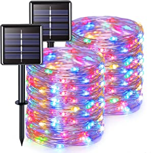 JMEXSUSS Solar Fairy Lights Outdoor Waterproof 2 Pack Each 66ft 200 LED Solar String Lights Multicolor 8 Modes Silver Wire Lights for Tree Garden Patio Wedding Party Yard Christmas Decoration