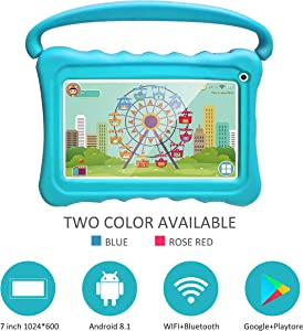 Kids Tablets pc 7 Android Kids Tablet for Kids Learning Tablet Quad Core with WiFi Dual Camera IPS Safety Eye Protection Screen 1GB 16GB Storage (Without CASE)