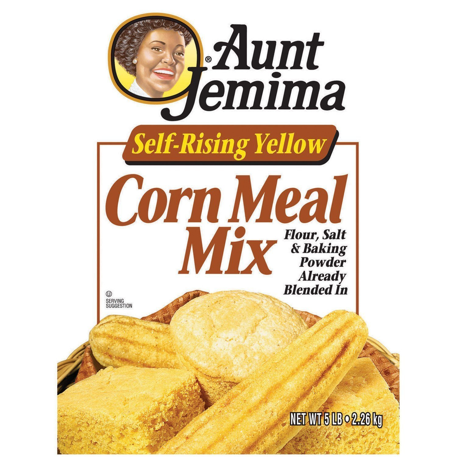 Aunt Jemima Self-Rising Yellow Corn Meal Mix 5 Lb (Pack of 2)