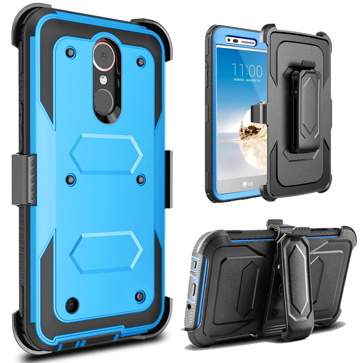 J.west LG Aristo Case, LG Phoenix 3 Case, LG K8 2017 Case, LG Fortune Case, Full-Body Rugged Belt Clip Holster Kickstand Case Without Built-in Screen Protector for LG LV3, Blue