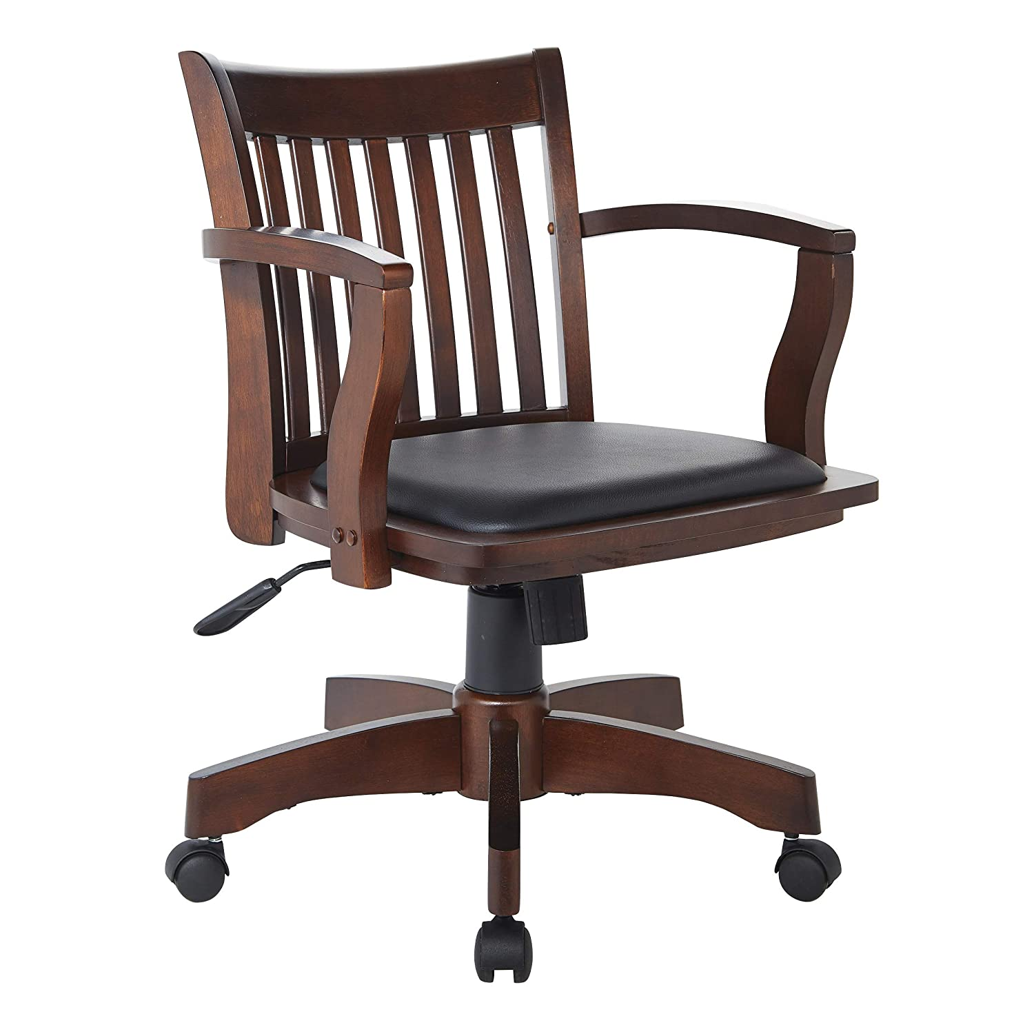 Office Star Deluxe Wood Bankers Desk Chair with Black Vinyl Padded Seat, Espresso