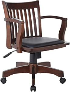 OSP Home Furnishings Deluxe Wood Bankers Desk Chair with Black Vinyl Padded Seat, Espresso