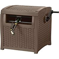 Suncast Resin Hose Hideaway with Hose Guide - Durable Outdoor Hose Storage Reel with Crank Handle, Lid, and Slide Trak Hose Guide - 225' Hose Capacity - Mocha Wicker
